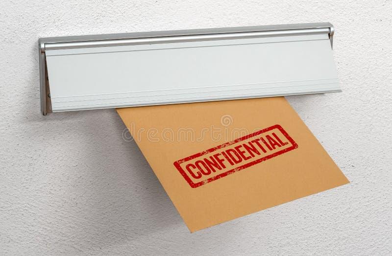 Una lettera ha timbrato confidenziale in una scanalatura di posta immagini stock