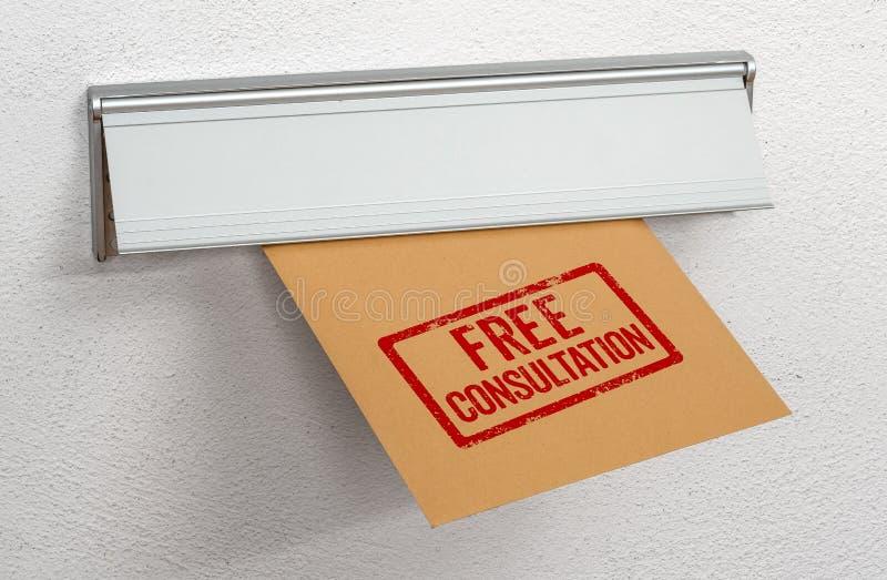 Una lettera ha timbrato la consultazione libera in una scanalatura di posta immagine stock