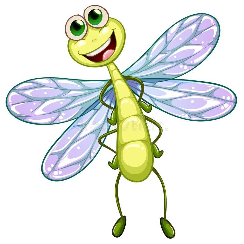 Una libellula sorridente illustrazione di stock