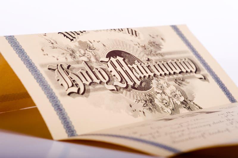 Una licencia de unión antigua fotografía de archivo libre de regalías