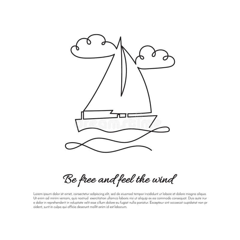 Una linea continua barca a vela sulle onde con il segno illustrazione vettoriale