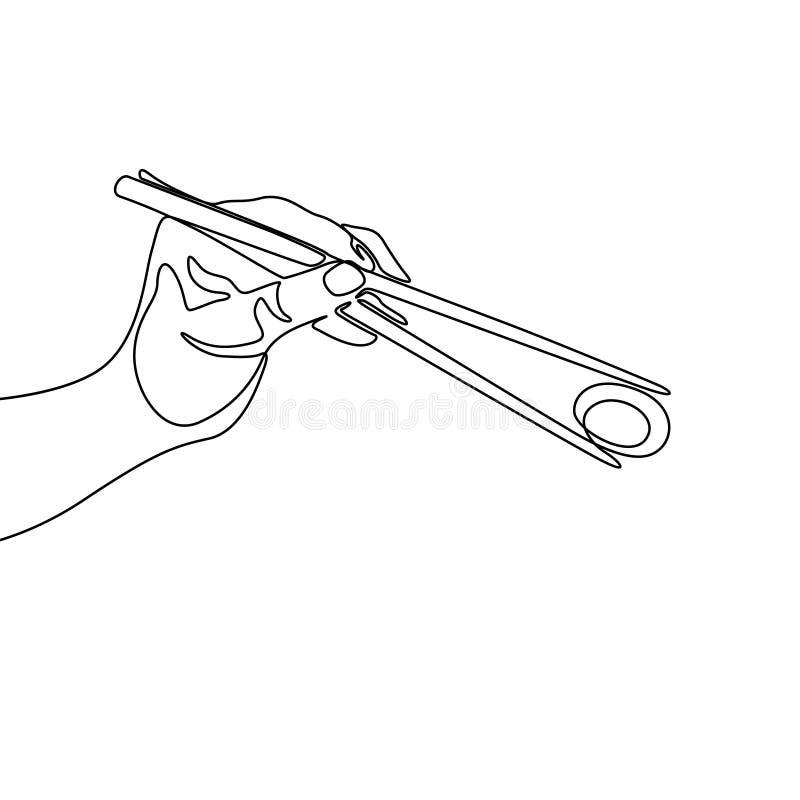 Una linea continua bastoncino della tenuta della mano per mangiare il rotolo di sushi, vettore illustrazione vettoriale