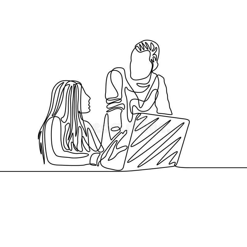 Una linea continua colleghi che discutono lavoro davanti ad un computer portatile royalty illustrazione gratis