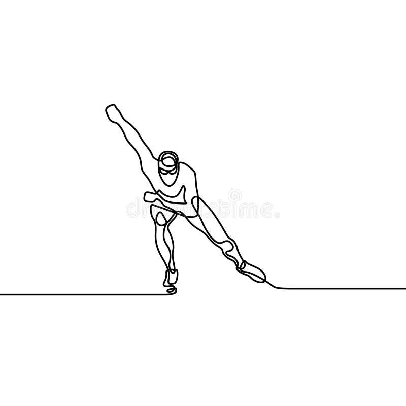 Una linea continua corridore del pattino, giochi olimpici di inverno royalty illustrazione gratis