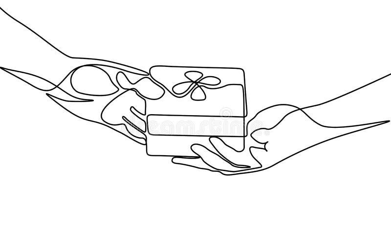 Una linea continua dare un regalo Illustrazione di vettore royalty illustrazione gratis