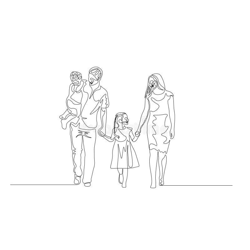 Una linea continua famiglia felice che cammina tenendo le mani Il padre tiene il figlio nelle sue armi Concetto 'nucleo familiare royalty illustrazione gratis