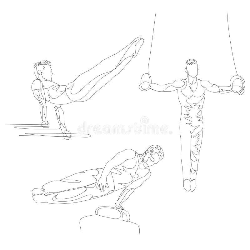 Una linea continua ginnasta che fa il vario insieme di esercizio Giochi olimpici di estate Vettore illustrazione vettoriale
