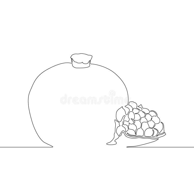 Una linea continua granato o melograno, illustrazione di vettore illustrazione vettoriale