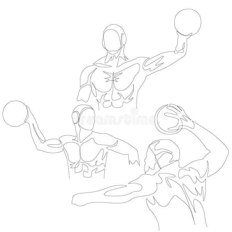 Una linea continua insieme del giocatore di pallanuoto Giochi olimpici di estate Vettore illustrazione di stock