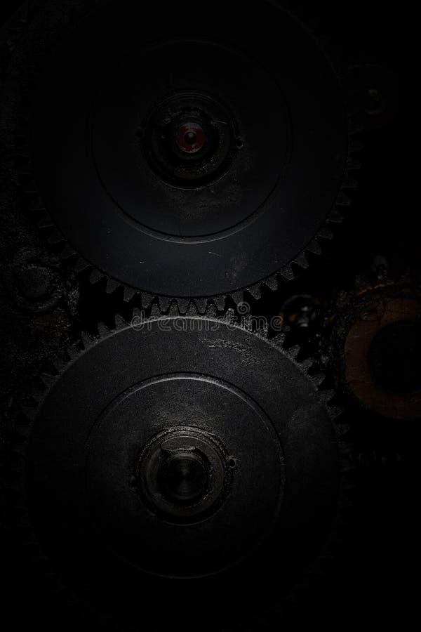 Una linea del contatto di due denti della ruota dentata immagine stock libera da diritti