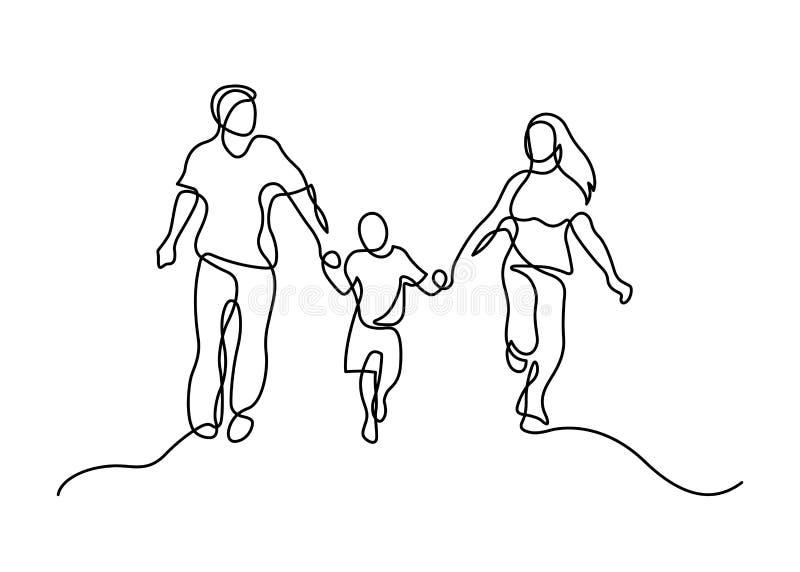 Una linea famiglia illustrazione di stock