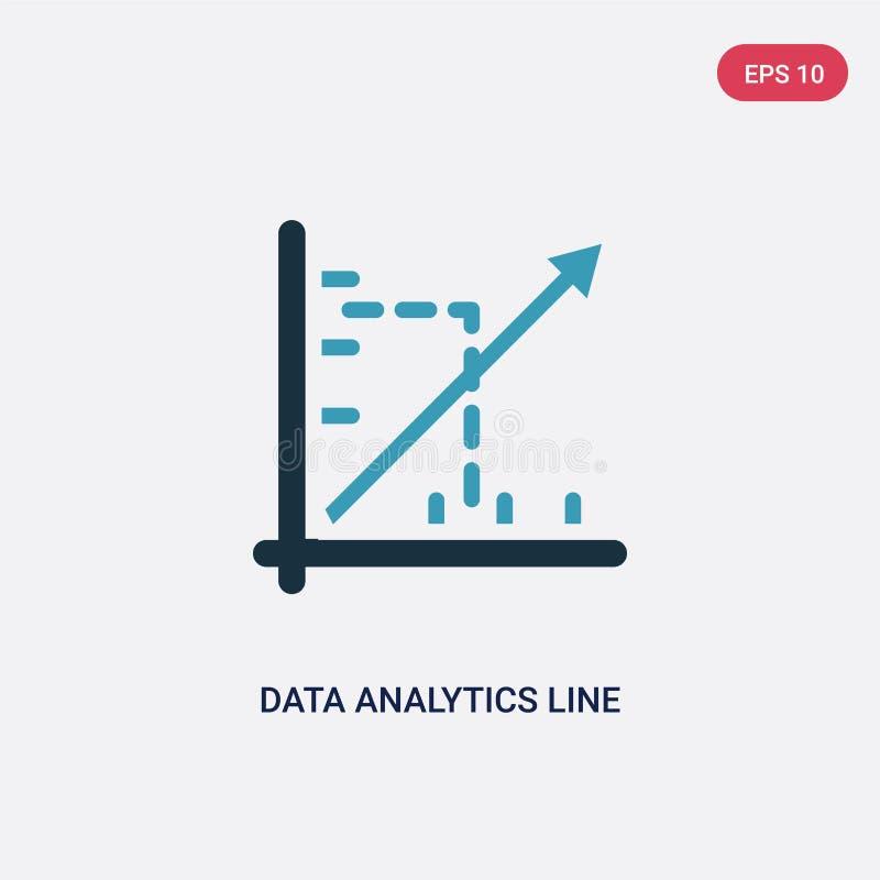 Una linea icona di due di colore analisi dei dati di dati di vettore del grafico dal concetto di web e di seo linea blu isolata s royalty illustrazione gratis