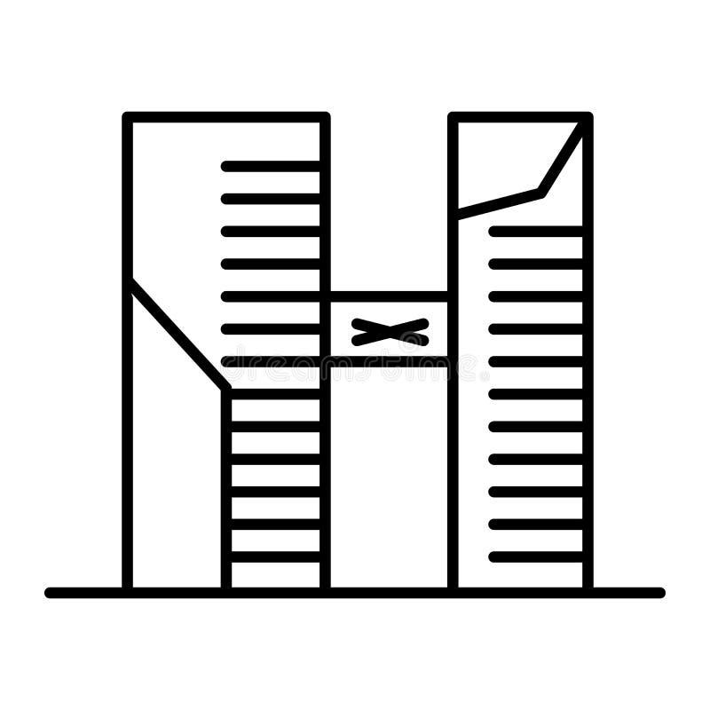 Una linea sottile icona di due grattacieli Illustrazione di vettore di due costruzioni isolata su bianco Due palazzi multipiani c royalty illustrazione gratis