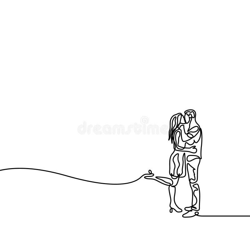 Una linea uomo continua ed abbraccio e bacio della donna illustrazione di stock