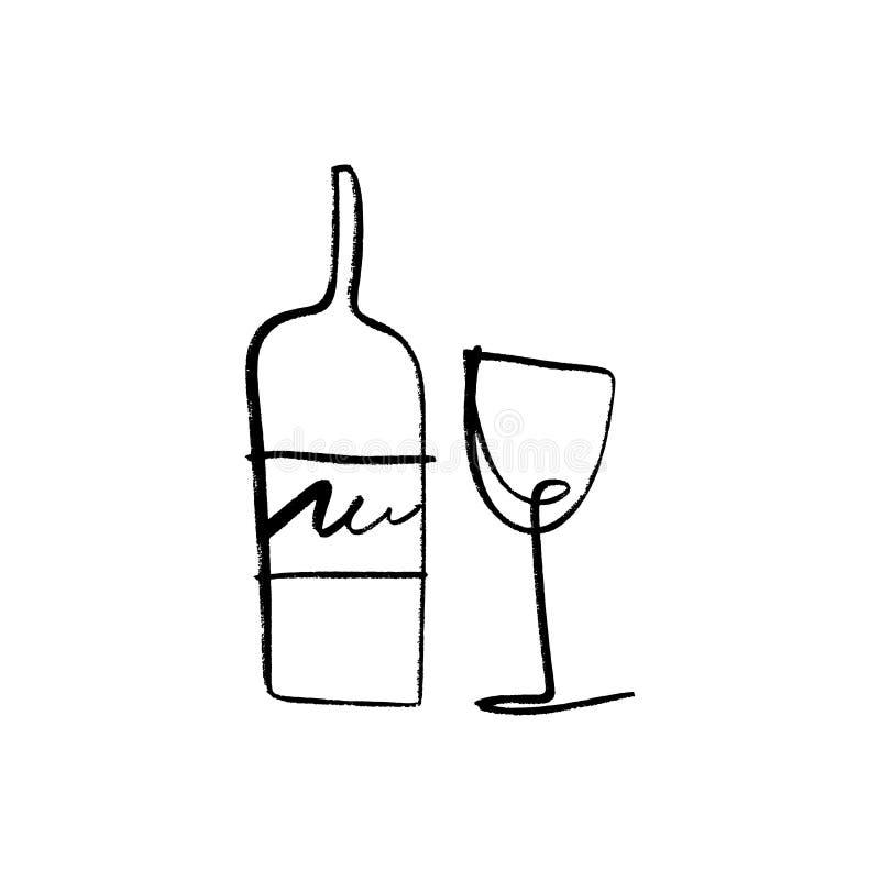 Una linea vetro di arte e bottiglia dell'insieme del vino, disegnati a mano illustrazione vettoriale