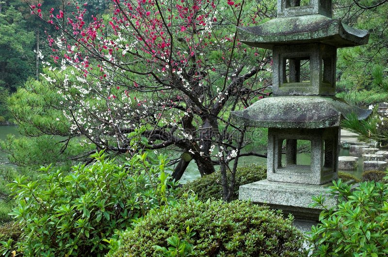 Una linterna de piedra en un jardín japonés en Kyoto, Japón foto de archivo