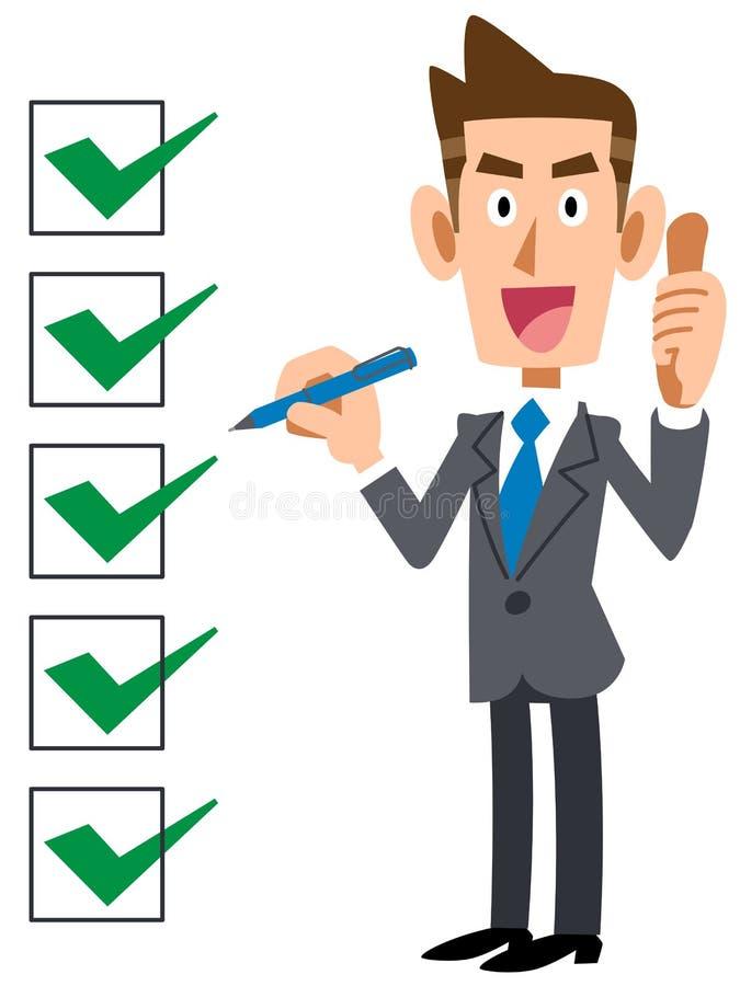 Una lista de control y un hombre de negocios completos ilustración del vector