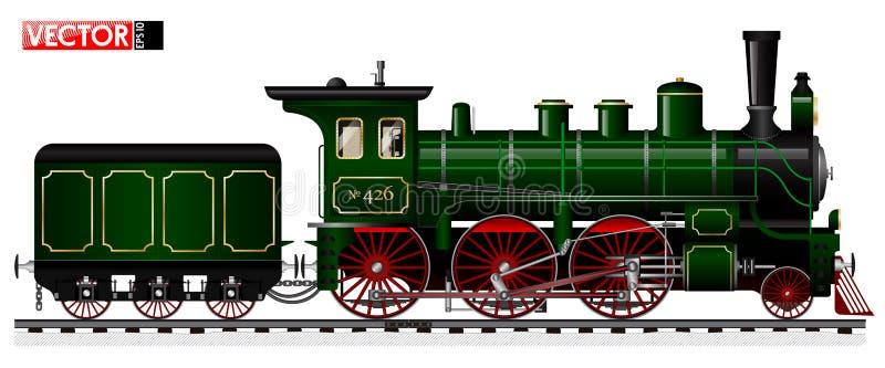 Una locomotora vieja del color verde con un motor de vapor y una oferta Vista lateral Detalles y mecanismos remontados libre illustration