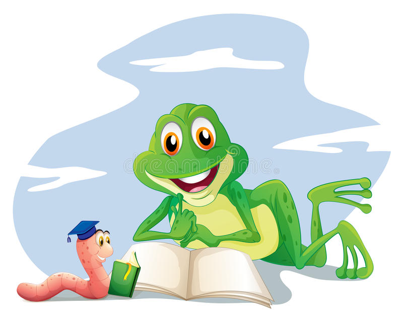 Una lombriz de tierra y una lectura de la rana ilustración del vector