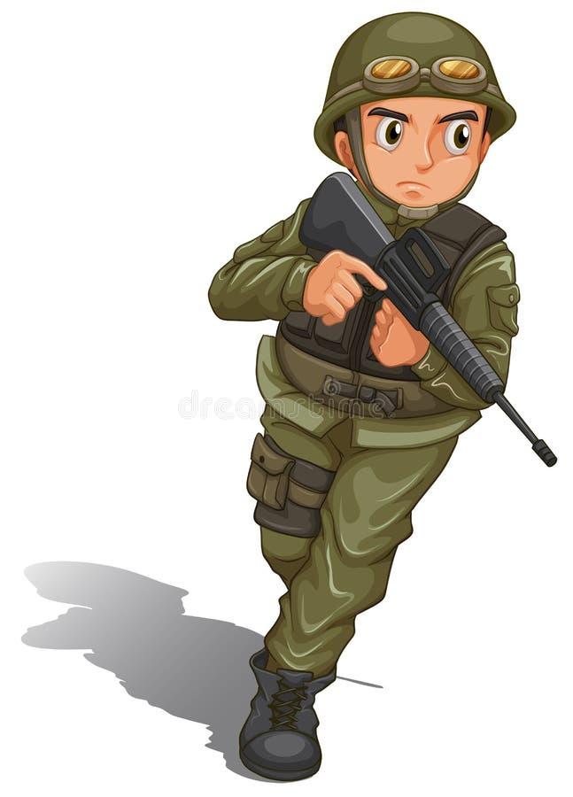 Una lucha valiente del soldado ilustración del vector