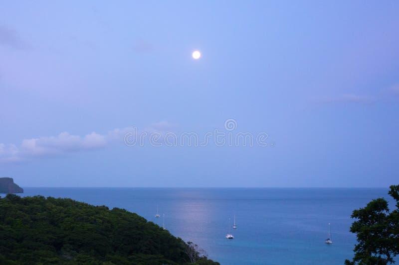Una Luna Llena que fija sobre un puerto en las zonas tropicales imagen de archivo libre de regalías