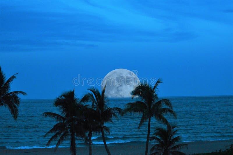 Una Luna Llena virtual hace una entrada espectacular al cielo crepuscular sobre el océano tropical abajo imagen de archivo