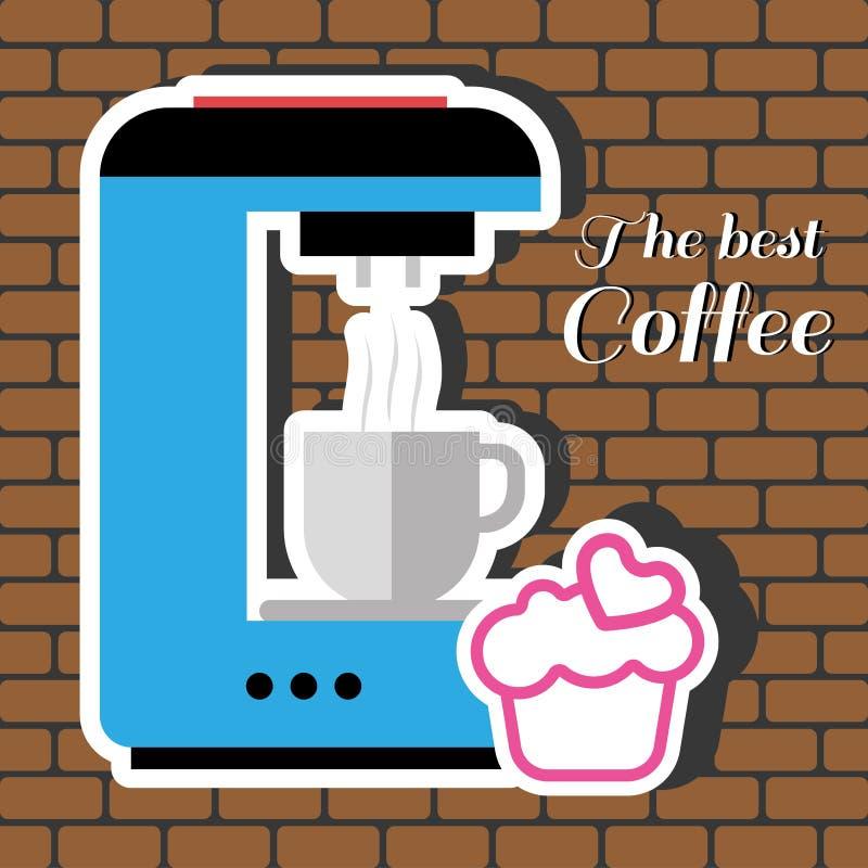Una máquina azul del fabricante de café con una taza de café ilustración del vector