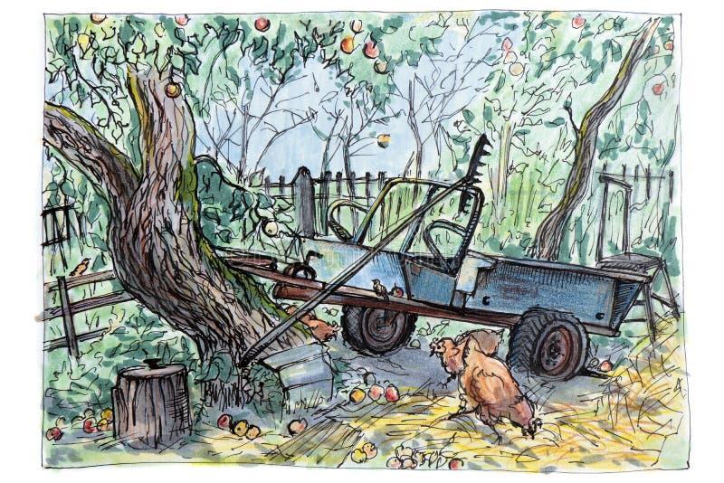 Una máquina vieja se coloca en el jardín entre los árboles del jardín, gallinas está dando une vuelta Herramientas de jardín libre illustration