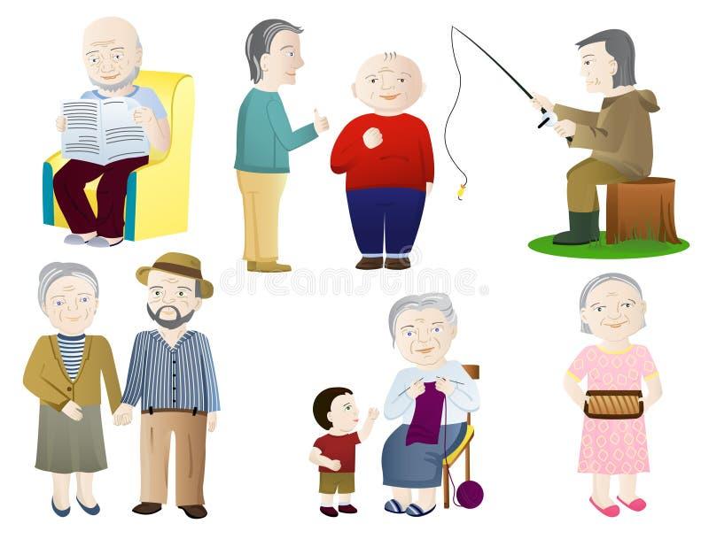Una más vieja gente stock de ilustración