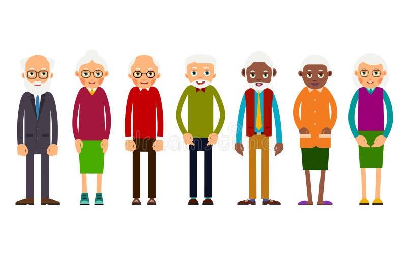 Una más vieja gente del grupo stock de ilustración