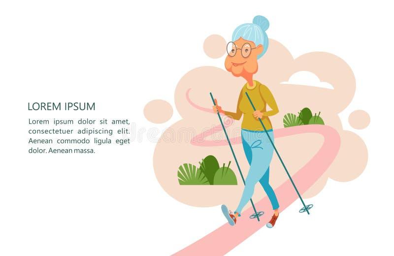 Una más vieja gente lleva una forma de vida activa Personas mayores de los deportes del juego A stock de ilustración