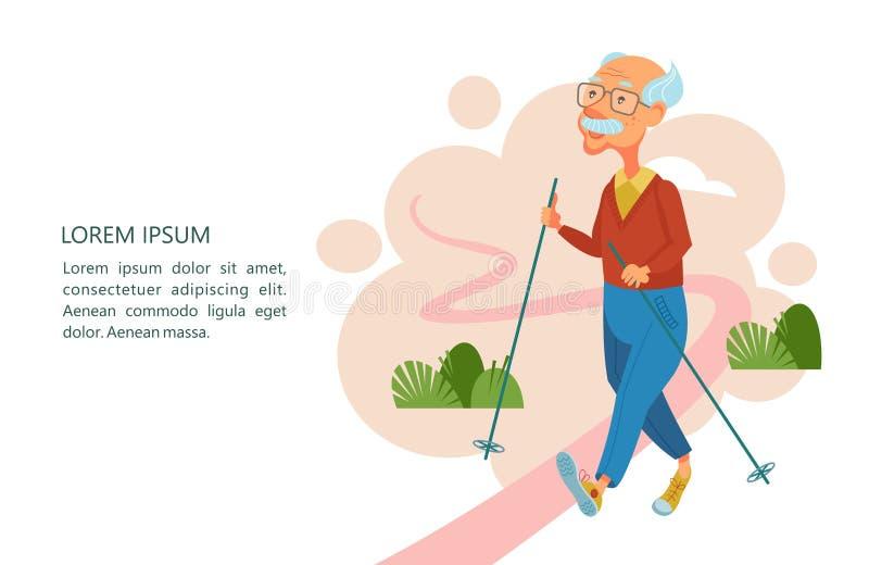 Una más vieja gente lleva una forma de vida activa Personas mayores de los deportes del juego A ilustración del vector