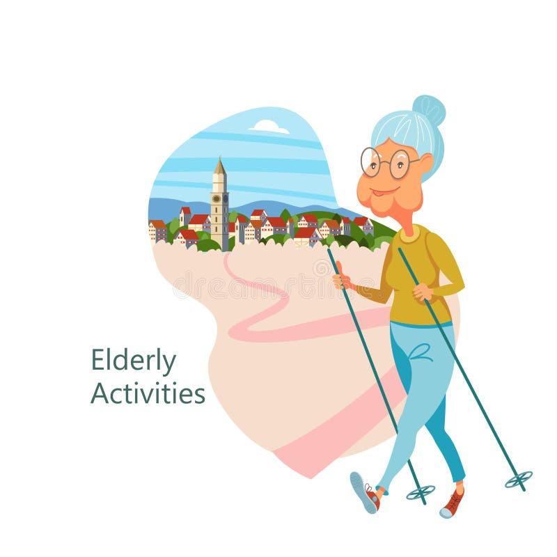 Una más vieja gente que lleva una forma de vida activa Personas mayores de los deportes del juego ilustración del vector