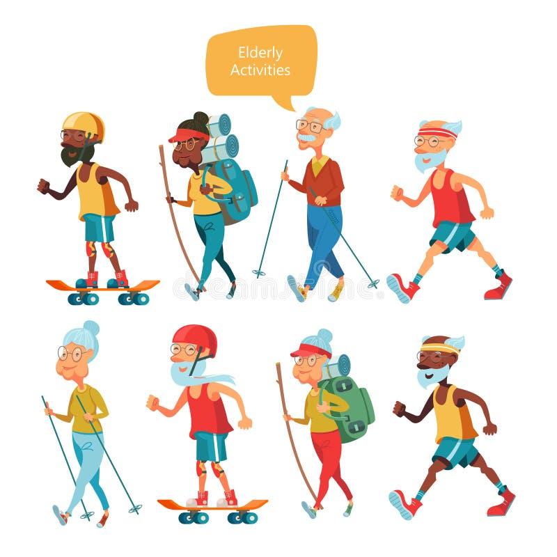 Una más vieja gente que lleva una forma de vida activa Personas mayores de los deportes del juego stock de ilustración
