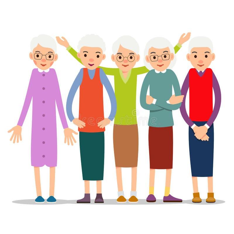 Una más vieja mujer Carácter de la mujer mayor en diversas actitudes Mujer en un Dr.