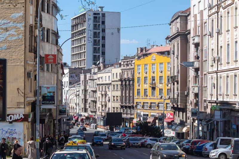 Una más vieja parte de Belgrado céntrica fotografía de archivo