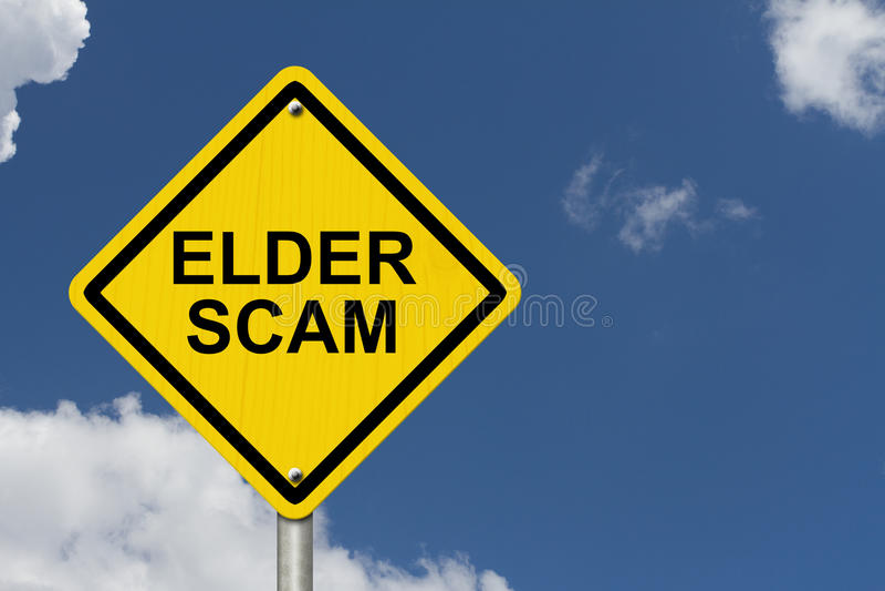 Una más vieja señal de peligro de Scam imagenes de archivo