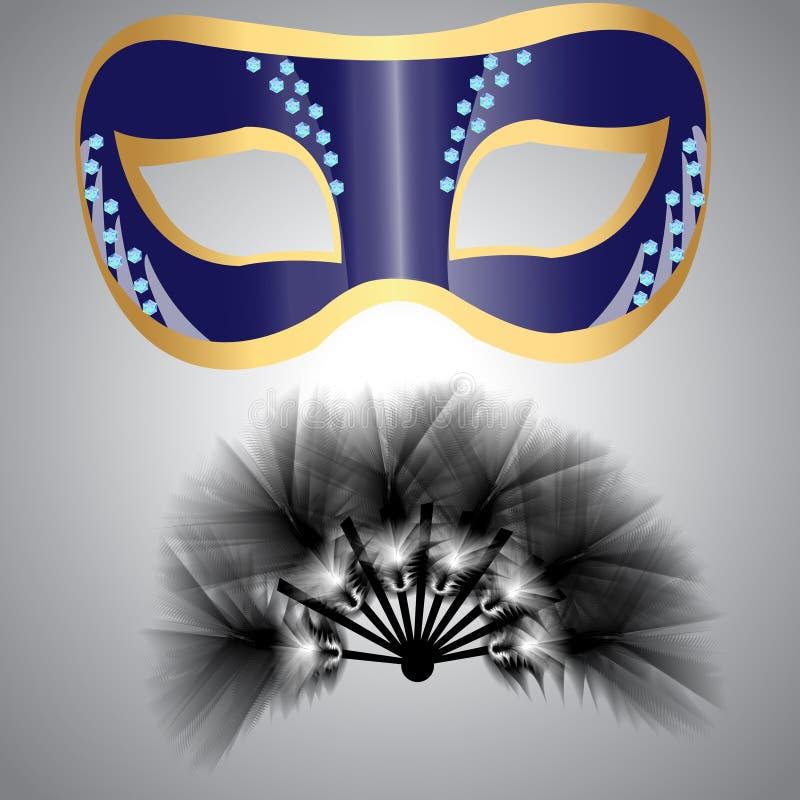 Una máscara y una fan hechas de las plumas mullidas para el carnaval o el masquer libre illustration