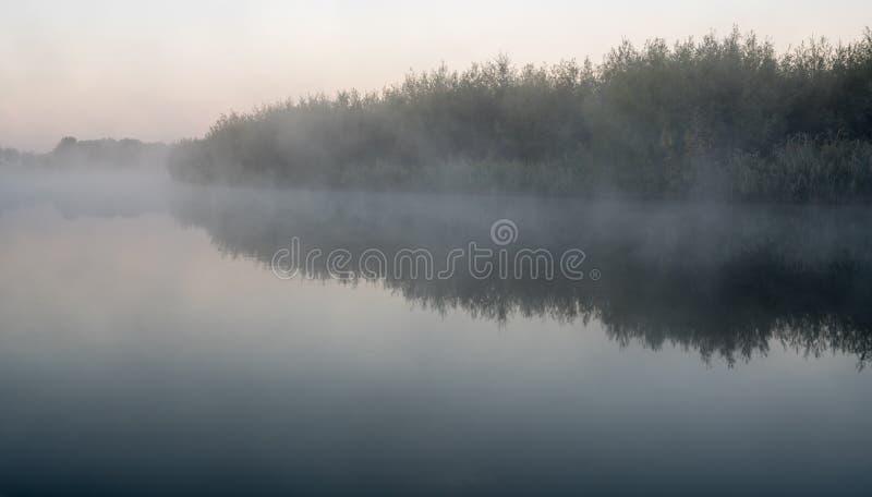 Una mañana brumosa en el agua imagen de archivo libre de regalías