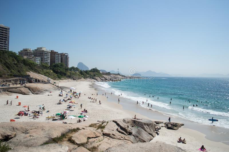 Una mañana en la playa de Ipanema foto de archivo
