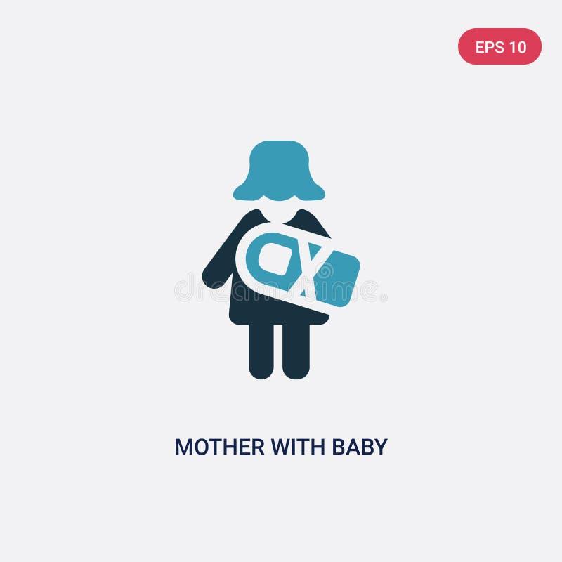 Una madre di due colori con il bambino nell'icona di vettore di armi dal concetto della gente la madre blu isolata con il bambino illustrazione di stock