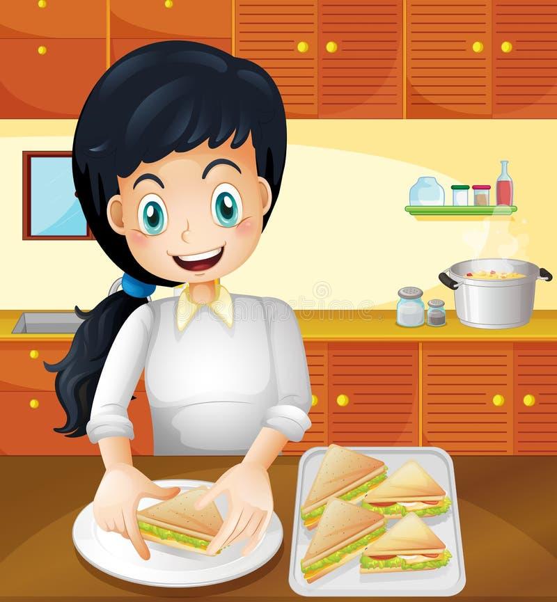 Una madre felice che prepara gli spuntini nella cucina royalty illustrazione gratis