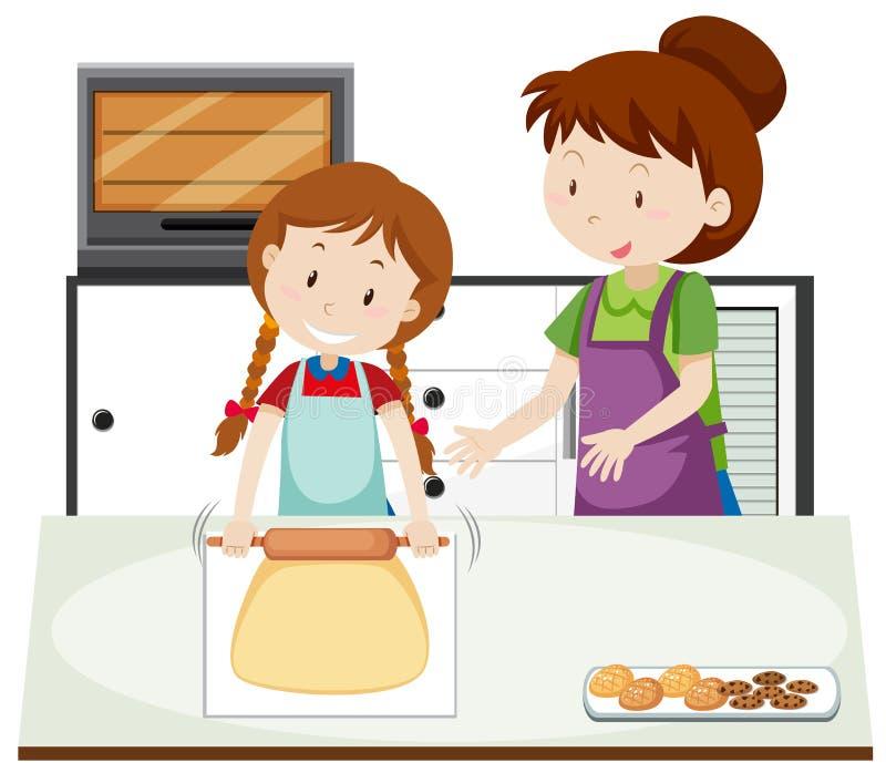 Una madre insegna alla figlia a cuocere illustrazione di stock