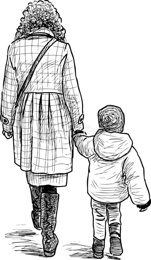 Una madre joven con su ni?o que va en un paseo ilustración del vector