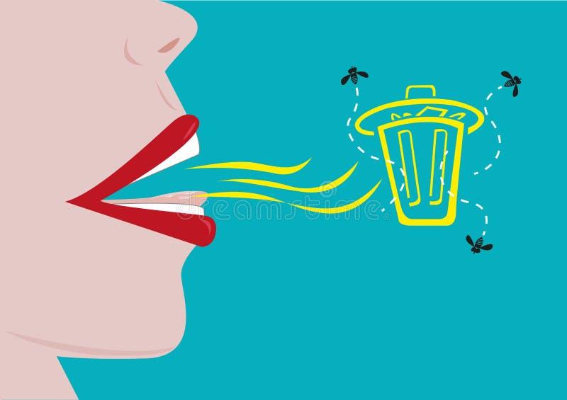 Una mala respiración simbolizada como cubo de la basura con las moscas Clipart Editable stock de ilustración