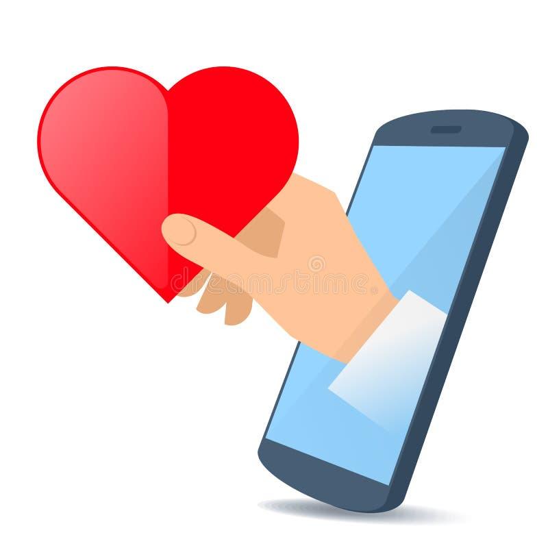 Una mano de la pantalla del ` s del teléfono lleva a cabo una forma del corazón libre illustration