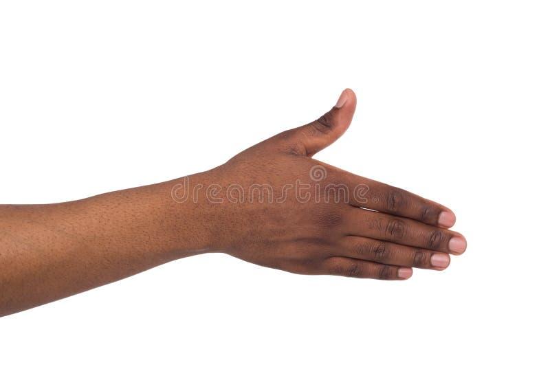Una mano del ` s del hombre negro lista para sacudir las manos fotografía de archivo libre de regalías