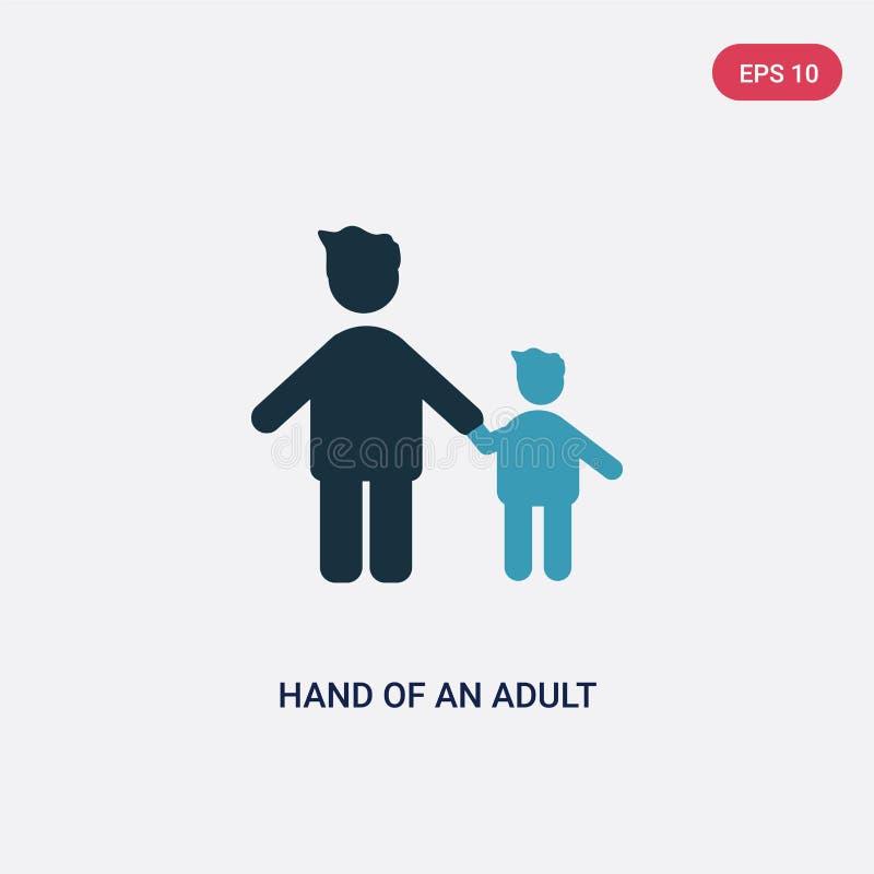 Una mano di due colori di un'icona adulta di vettore dal concetto della gente la mano blu isolata di un simbolo adulto del segno  illustrazione vettoriale