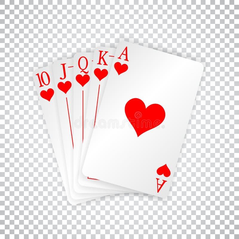 Una mano di poker reale delle carte da gioco di vampata diritta nei cuori royalty illustrazione gratis