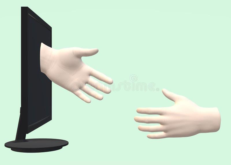 Una mano que alcanza hacia fuera de una exhibición negra del monitor de computadora a otra en el mundo real stock de ilustración